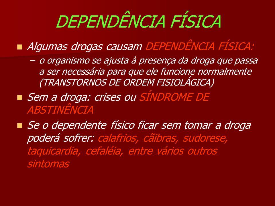 DEPENDÊNCIA FÍSICA Algumas drogas causam DEPENDÊNCIA FÍSICA: –o organismo se ajusta à presença da droga que passa a ser necessária para que ele funcione normalmente (TRANSTORNOS DE ORDEM FISIOLÁGICA) Sem a droga: crises ou SÍNDROME DE ABSTINÊNCIA Se o dependente físico ficar sem tomar a droga poderá sofrer: calafrios, cãibras, sudorese, taquicardia, cefaléia, entre vários outros sintomas
