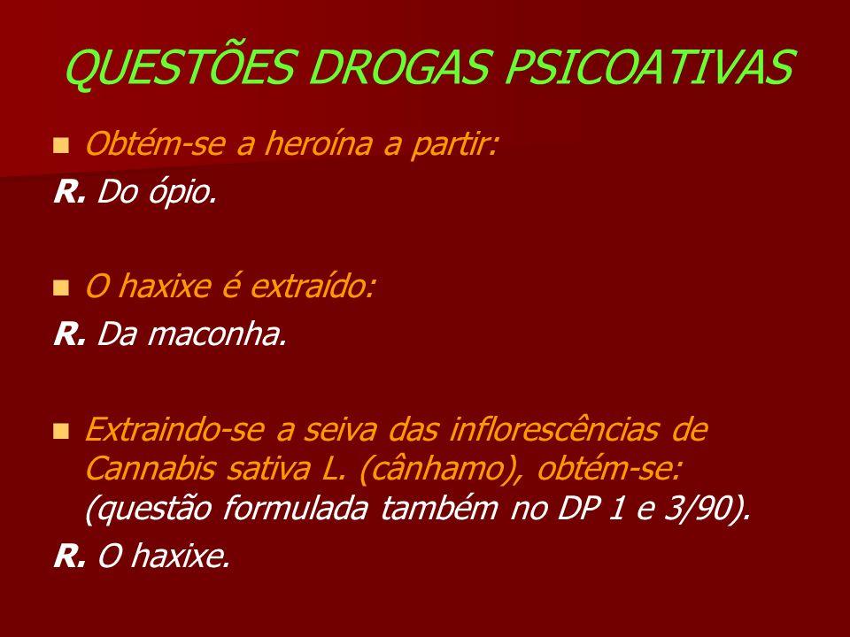 QUESTÕES DROGAS PSICOATIVAS Obtém-se a heroína a partir: R.