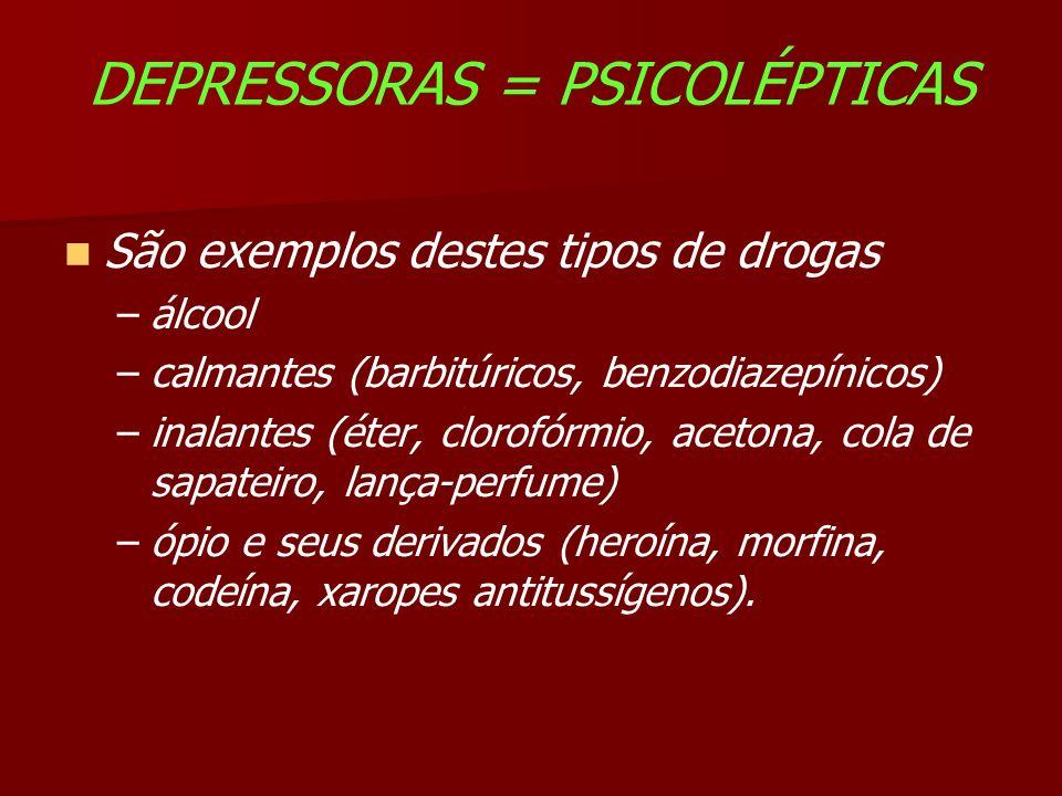 DEPRESSORAS = PSICOLÉPTICAS São exemplos destes tipos de drogas –álcool –calmantes (barbitúricos, benzodiazepínicos) –inalantes (éter, clorofórmio, acetona, cola de sapateiro, lança-perfume) –ópio e seus derivados (heroína, morfina, codeína, xaropes antitussígenos).