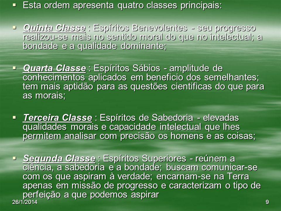 26/1/20149 Esta ordem apresenta quatro classes principais: Esta ordem apresenta quatro classes principais: Quinta Classe : Espíritos Benevolentes - se