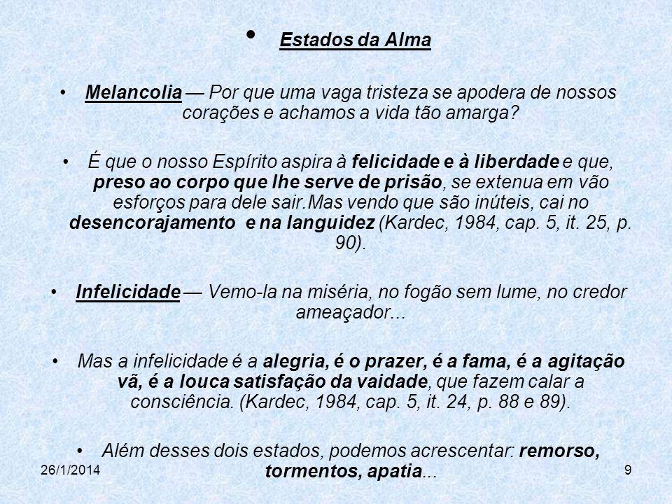 26/1/20149 Estados da Alma Melancolia Por que uma vaga tristeza se apodera de nossos corações e achamos a vida tão amarga.