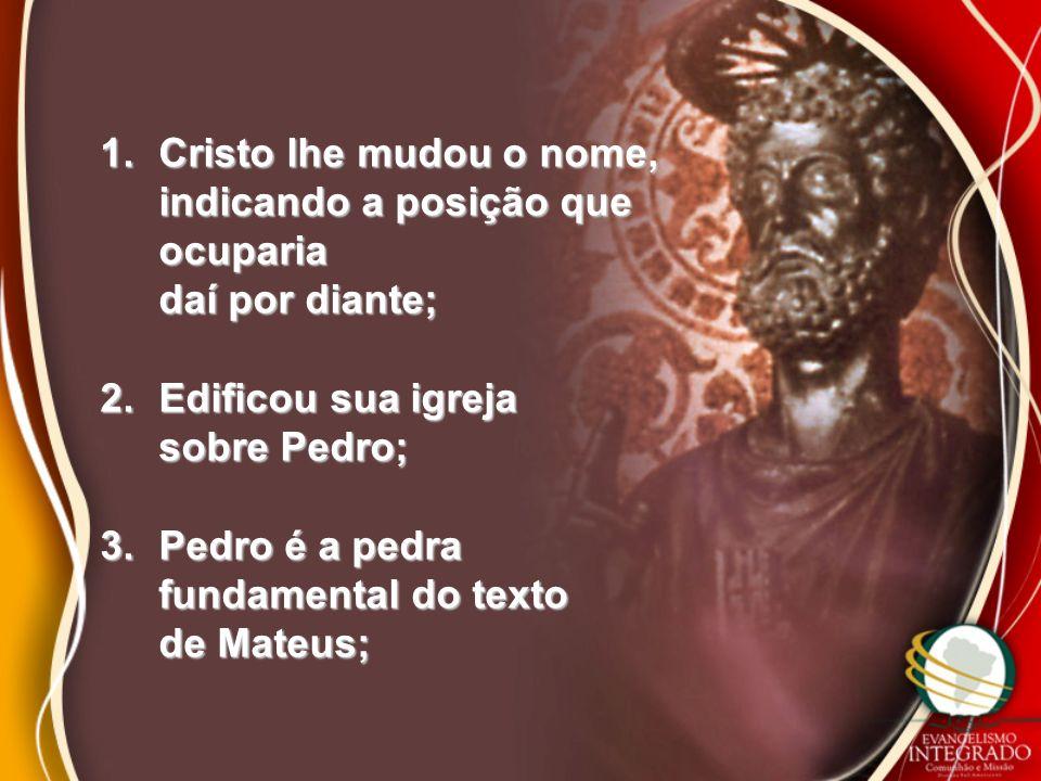 4.Pedro foi o superior hierárquico dos Apóstolos; 5.Pedro estabeleceu em Roma a sede de seu episcopado; 6.Ele instituiu os bispos de Roma seus herdeiros;