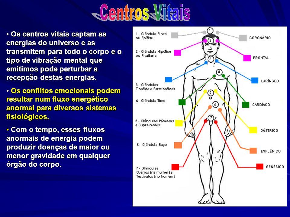 Os centros vitais captam as energias do universo e as transmitem para todo o corpo e o tipo de vibração mental que emitimos pode perturbar a recepção