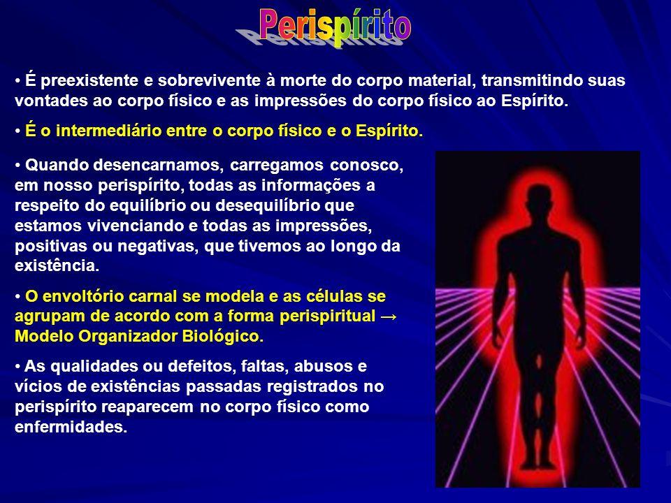É preexistente e sobrevivente à morte do corpo material, transmitindo suas vontades ao corpo físico e as impressões do corpo físico ao Espírito. É o i