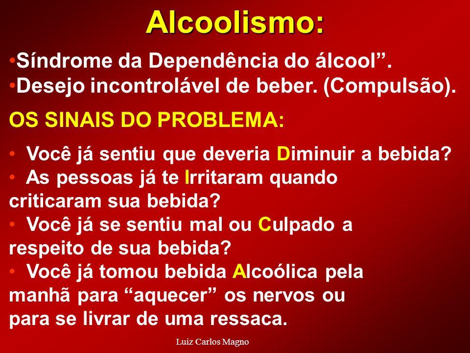 Síndrome da Dependência do álcool. Desejo incontrolável de beber. (Compulsão). OS SINAIS DO PROBLEMA: Você já sentiu que deveria Diminuir a bebida? As