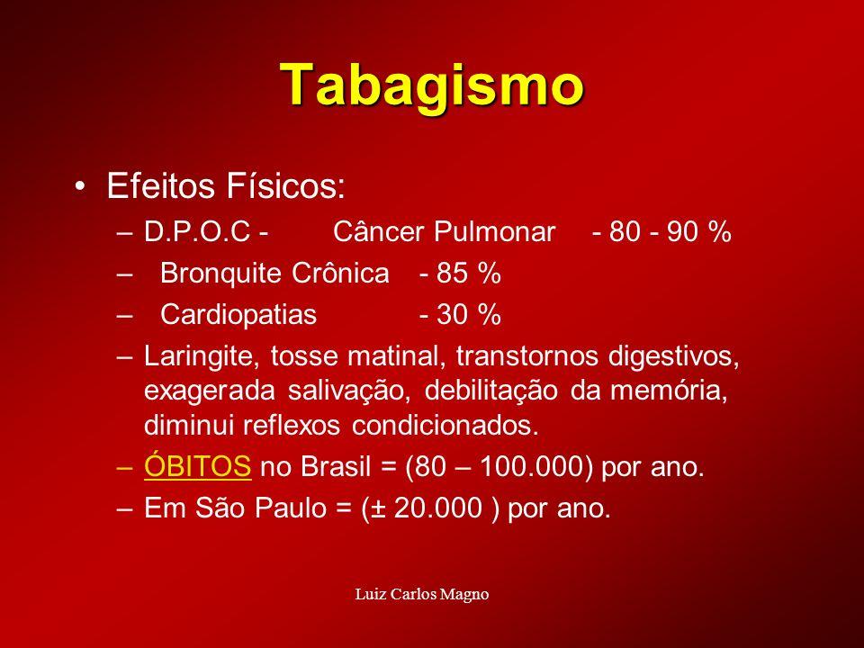 Tabagismo Efeitos Físicos: –D.P.O.C - Câncer Pulmonar- 80 - 90 % –Bronquite Crônica- 85 % –Cardiopatias- 30 % –Laringite, tosse matinal, transtornos d