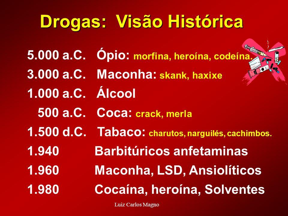 Drogas: Visão Histórica 5.000 a.C. Ópio: morfina, heroína, codeína. 3.000 a.C. Maconha: skank, haxixe 1.000 a.C. Álcool 500 a.C. Coca: crack, merla 1.