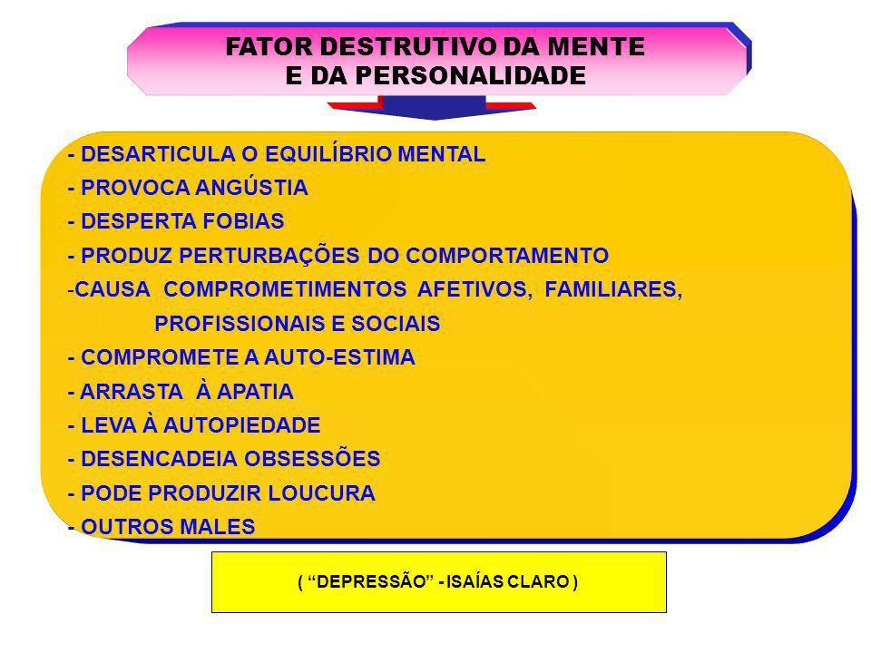 CONSEQÜÊNCIA MAIS TERRÍVEL DA DEPRESSÃO CONSEQÜÊNCIA MAIS TERRÍVEL DA DEPRESSÃO PODE SER SUICÍDIO INDIRETO OU INCONSCIENTE INDIRETO OU INCONSCIENTE DIRETO OU CONSCIENTE DIRETO OU CONSCIENTE É AQUELE EM QUE A PESSOA DECIDE POR ELIMINAR A PRÓPRIA VIDA (AUTO-AGRESSÃO) É AQUELE EM QUE A PESSOA DECIDE POR ELIMINAR A PRÓPRIA VIDA (AUTO-AGRESSÃO) A MORTE NÃO É BUSCADA DELIBERADAMENTE.