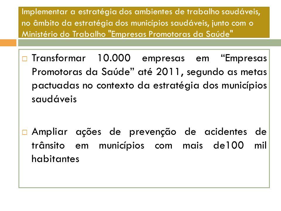 Implementar a estratégia dos ambientes de trabalho saudáveis, no âmbito da estratégia dos municípios saudáveis, junto com o Ministério do Trabalho