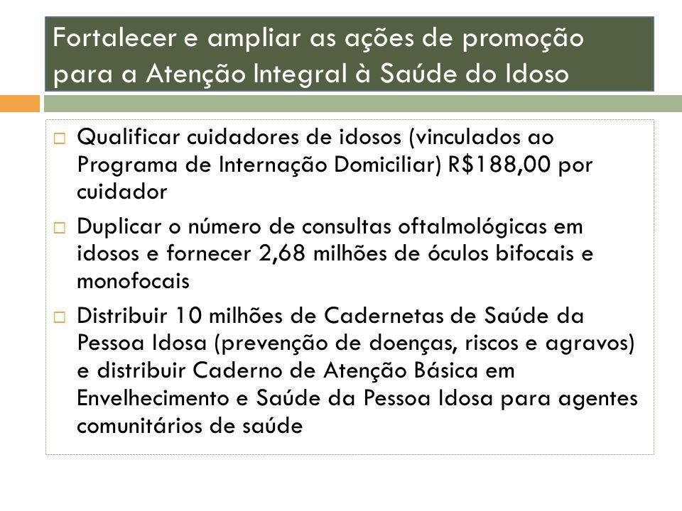Fortalecer e ampliar as ações de promoção para a Atenção Integral à Saúde do Idoso Qualificar cuidadores de idosos (vinculados ao Programa de Internaç