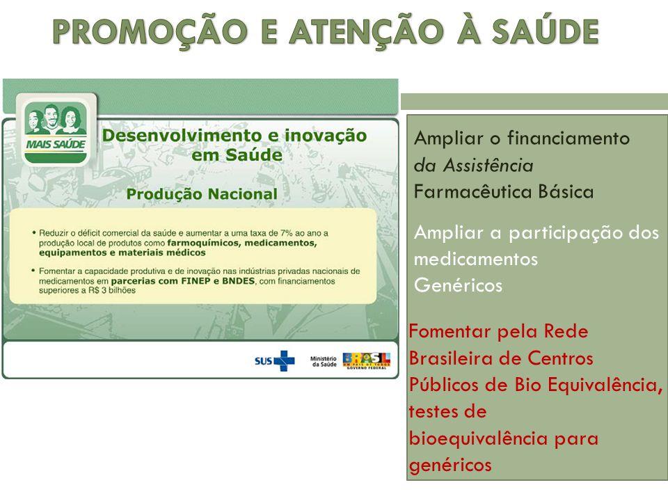 Ampliar a participação dos medicamentos Genéricos Ampliar o financiamento da Assistência Farmacêutica Básica Fomentar pela Rede Brasileira de Centros