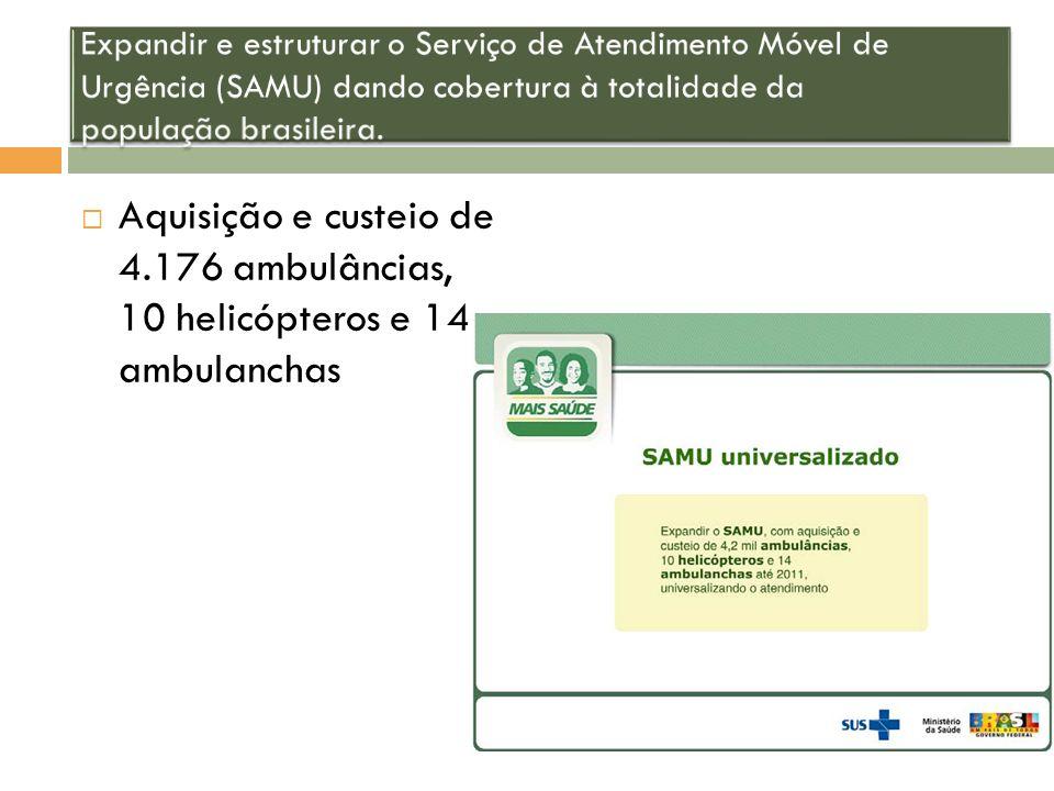 Aquisição e custeio de 4.176 ambulâncias, 10 helicópteros e 14 ambulanchas