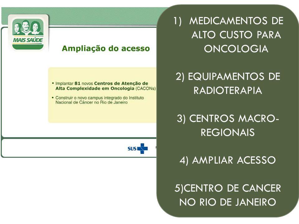 1)MEDICAMENTOS DE ALTO CUSTO PARA ONCOLOGIA 2) EQUIPAMENTOS DE RADIOTERAPIA 3) CENTROS MACRO- REGIONAIS 4) AMPLIAR ACESSO 5)CENTRO DE CANCER NO RIO DE