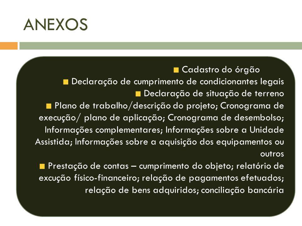 ANEXOS Cadastro do órgão Declaração de cumprimento de condicionantes legais Declaração de situação de terreno Plano de trabalho/descrição do projeto;