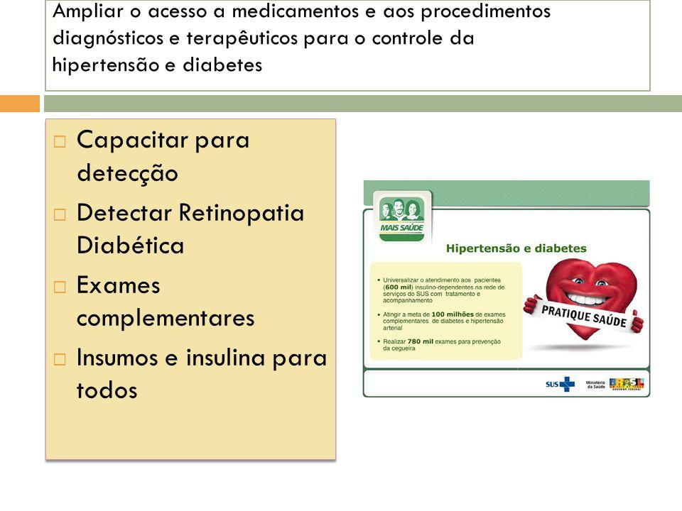 Ampliar o acesso a medicamentos e aos procedimentos diagnósticos e terapêuticos para o controle da hipertensão e diabetes Capacitar para detecção Dete