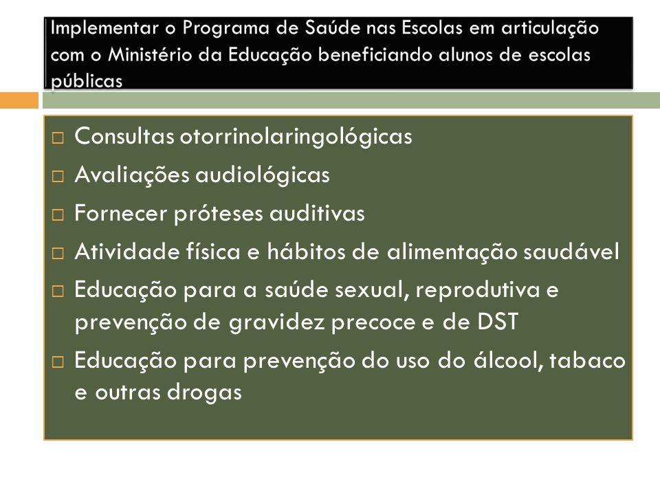 Consultas otorrinolaringológicas Avaliações audiológicas Fornecer próteses auditivas Atividade física e hábitos de alimentação saudável Educação para
