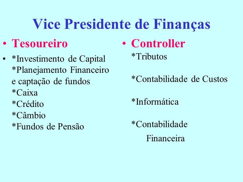Administração Financeira Analista Financeiro Analista ou gerente de Investimentos de Capital Gerente de Projetos Financeiros envolvendo financiamentos