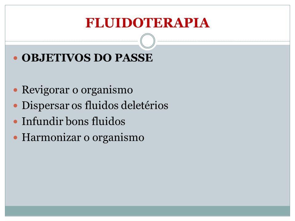 FLUIDOTERAPIA OBJETIVOS DO PASSE Revigorar o organismo Dispersar os fluidos deletérios Infundir bons fluidos Harmonizar o organismo