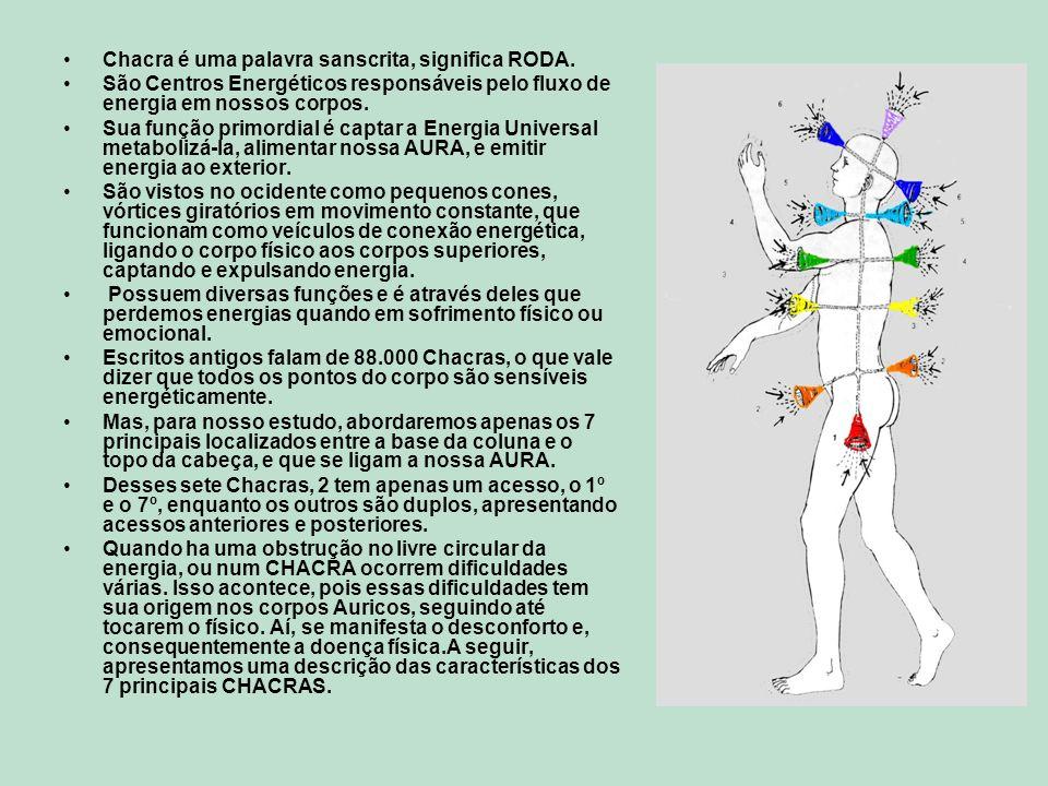 Chacra é uma palavra sanscrita, significa RODA. São Centros Energéticos responsáveis pelo fluxo de energia em nossos corpos. Sua função primordial é c