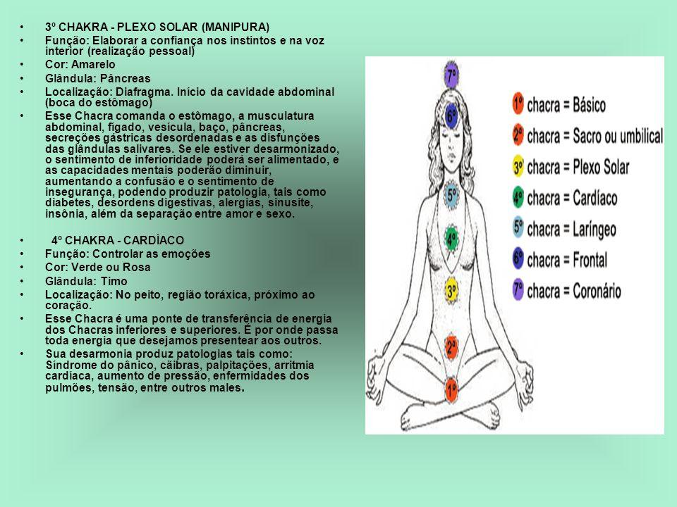 3º CHAKRA - PLEXO SOLAR (MANIPURA) Função: Elaborar a confiança nos instintos e na voz interior (realização pessoal) Cor: Amarelo Glândula: Pâncreas L