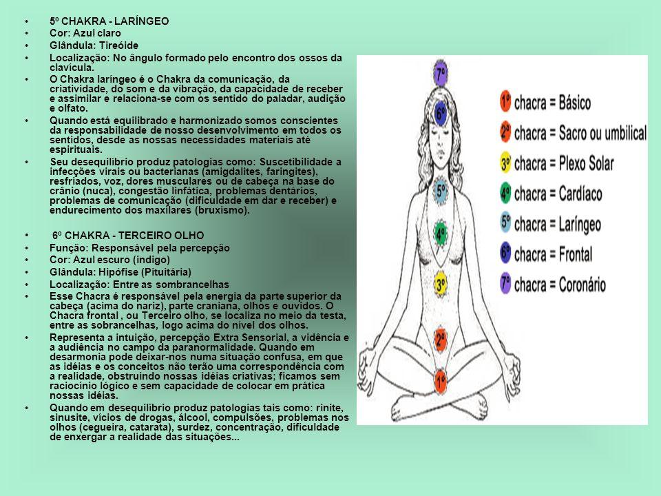 5º CHAKRA - LARÍNGEO Cor: Azul claro Glândula: Tireóide Localização: No ângulo formado pelo encontro dos ossos da clavícula. O Chakra laríngeo é o Cha