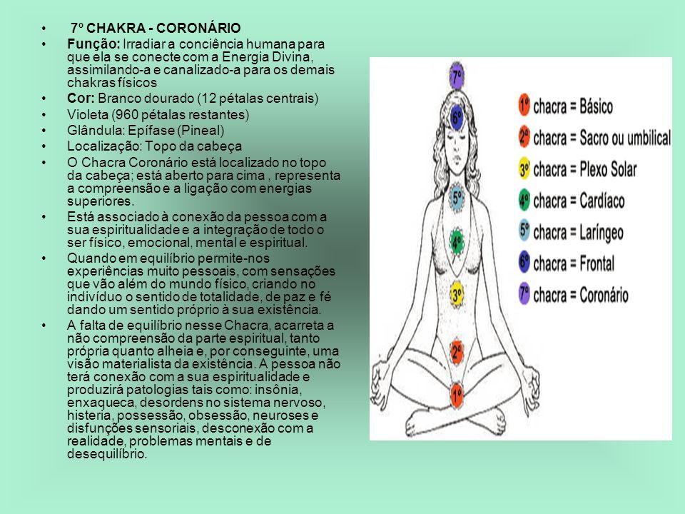 7º CHAKRA - CORONÁRIO Função: Irradiar a conciência humana para que ela se conecte com a Energia Divina, assimilando-a e canalizado-a para os demais c