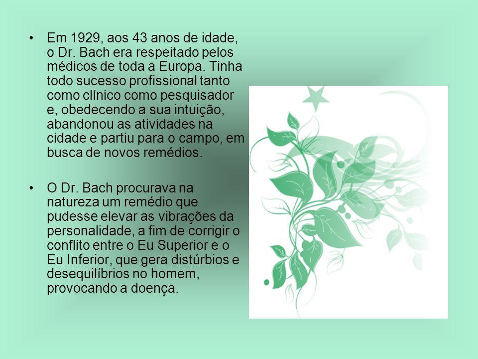Em 1929, aos 43 anos de idade, o Dr. Bach era respeitado pelos médicos de toda a Europa. Tinha todo sucesso profissional tanto como clínico como pesqu