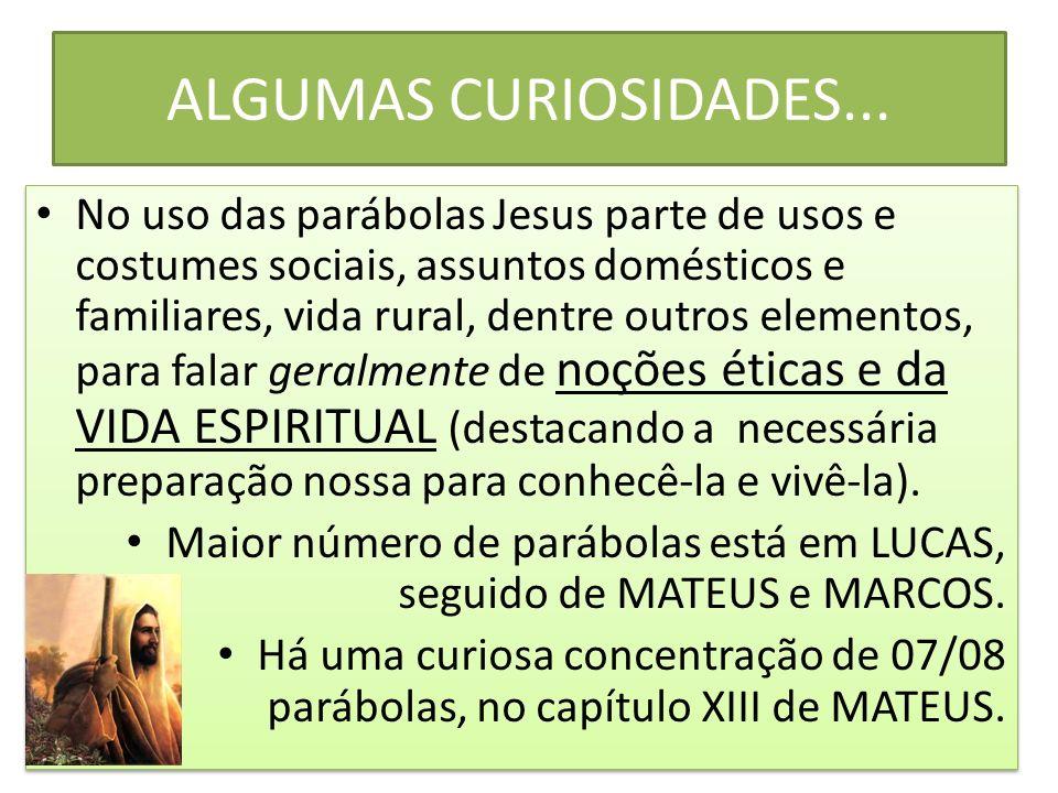 ALGUMAS CURIOSIDADES... No uso das parábolas Jesus parte de usos e costumes sociais, assuntos domésticos e familiares, vida rural, dentre outros eleme