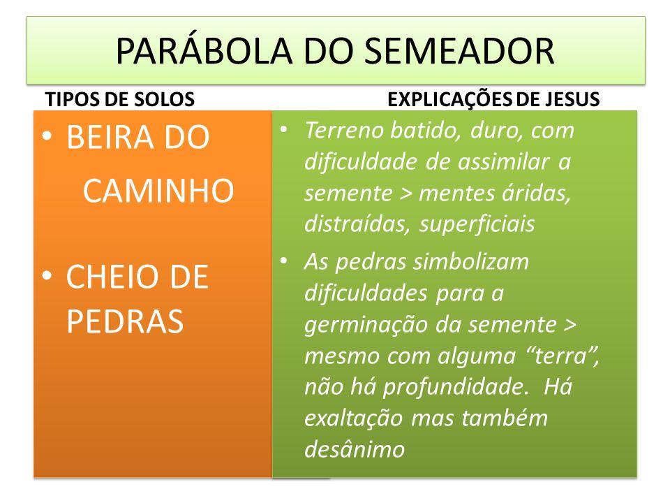 PARÁBOLA DO SEMEADOR TIPOS DE SOLOS BEIRA DO CAMINHO CHEIO DE PEDRAS BEIRA DO CAMINHO CHEIO DE PEDRAS EXPLICAÇÕES DE JESUS Terreno batido, duro, com d