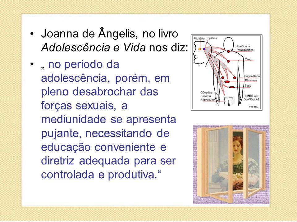 Joanna de Ângelis, no livro Adolescência e Vida nos diz: no período da adolescência, porém, em pleno desabrochar das forças sexuais, a mediunidade se