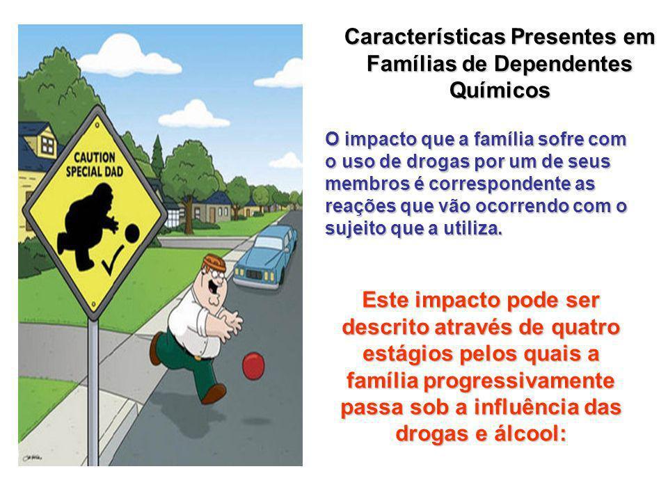 Características Presentes em Famílias de Dependentes Químicos O impacto que a família sofre com o uso de drogas por um de seus membros é correspondente as reações que vão ocorrendo com o sujeito que a utiliza.