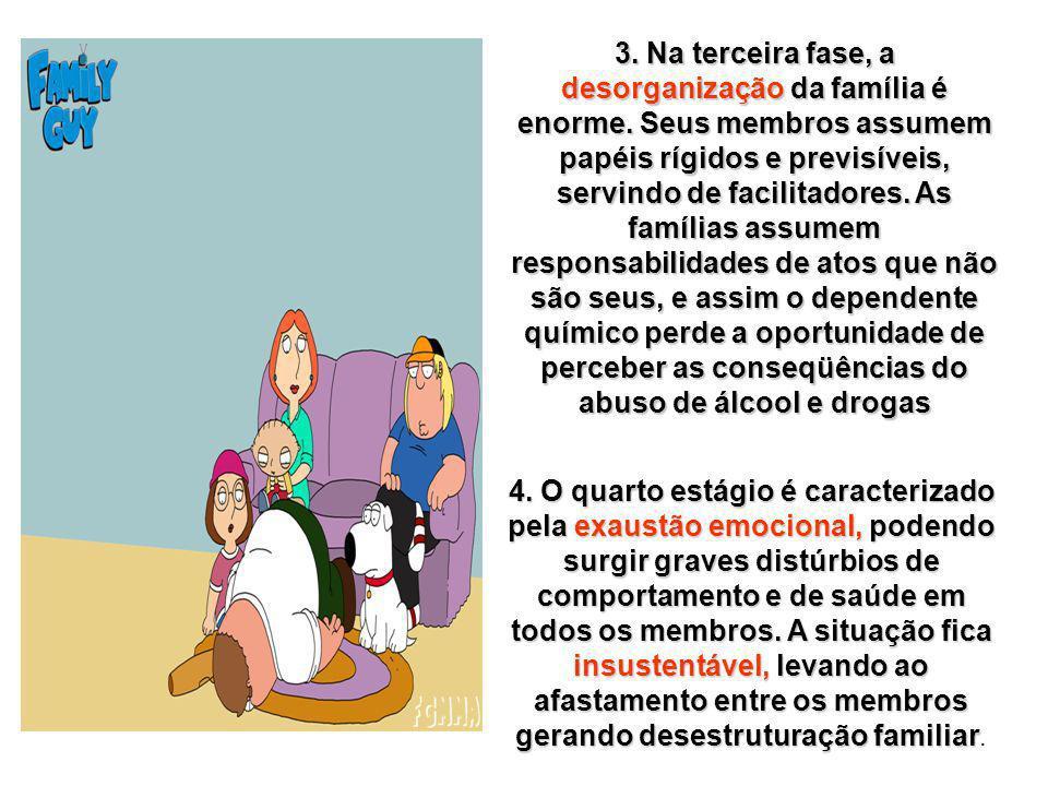 3. Na terceira fase, a desorganização da família é enorme. Seus membros assumem papéis rígidos e previsíveis, servindo de facilitadores. As famílias a