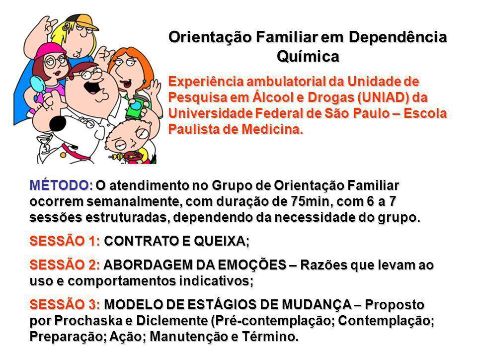 Orientação Familiar em Dependência Química Experiência ambulatorial da Unidade de Pesquisa em Álcool e Drogas (UNIAD) da Universidade Federal de São Paulo – Escola Paulista de Medicina.