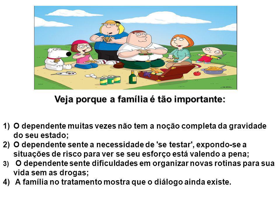 Veja porque a família é tão importante: 1)O dependente muitas vezes não tem a noção completa da gravidade do seu estado; 2)O dependente sente a necess