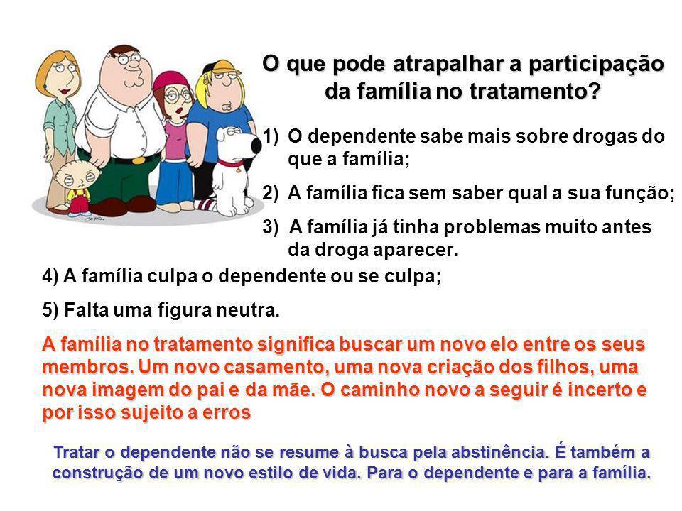 O que pode atrapalhar a participação da família no tratamento? 1)O dependente sabe mais sobre drogas do que a família; 2)A família fica sem saber qual