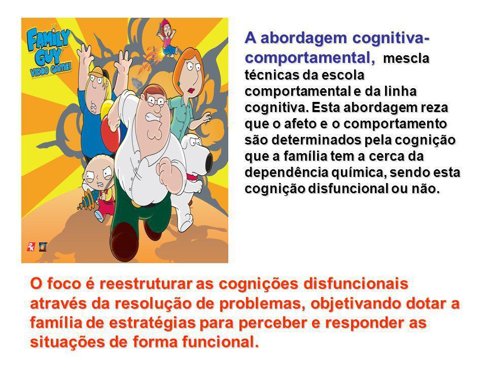 A abordagem cognitiva- comportamental, mescla técnicas da escola comportamental e da linha cognitiva.