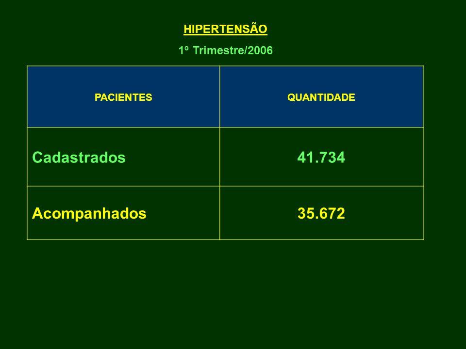 PACIENTESQUANTIDADE Cadastrados41.734 Acompanhados35.672 HIPERTENSÃO 1º Trimestre/2006