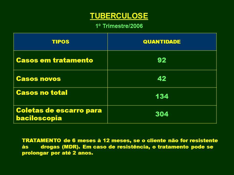 TUBERCULOSE 1º Trimestre/2006 TIPOSQUANTIDADE Casos em tratamento92 Casos novos42 Casos no total 134 Coletas de escarro para baciloscopia 304 TRATAMEN