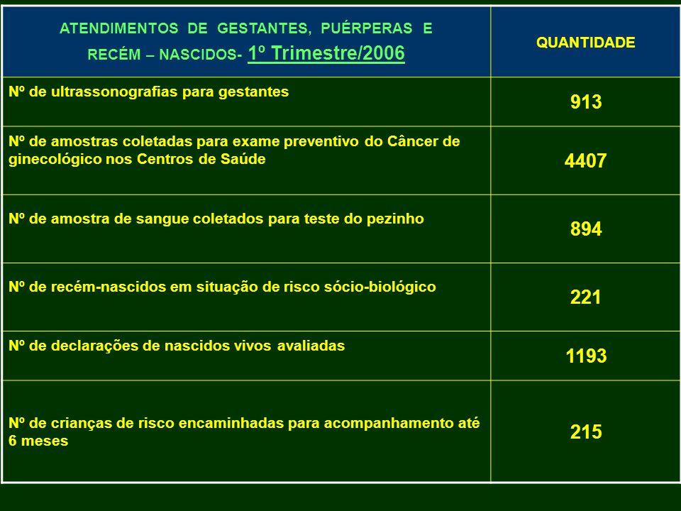 ATENDIMENTOS DE GESTANTES, PUÉRPERAS E RECÉM – NASCIDOS- 1º Trimestre/2006 QUANTIDADE Nº de ultrassonografias para gestantes 913 Nº de amostras coleta