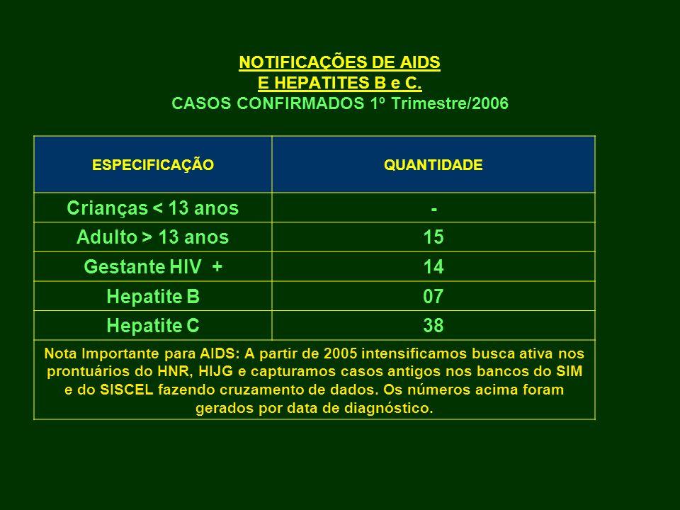 NOTIFICAÇÕES DE AIDS E HEPATITES B e C. CASOS CONFIRMADOS 1º Trimestre/2006 ESPECIFICAÇÃOQUANTIDADE Crianças < 13 anos- Adulto > 13 anos15 Gestante HI