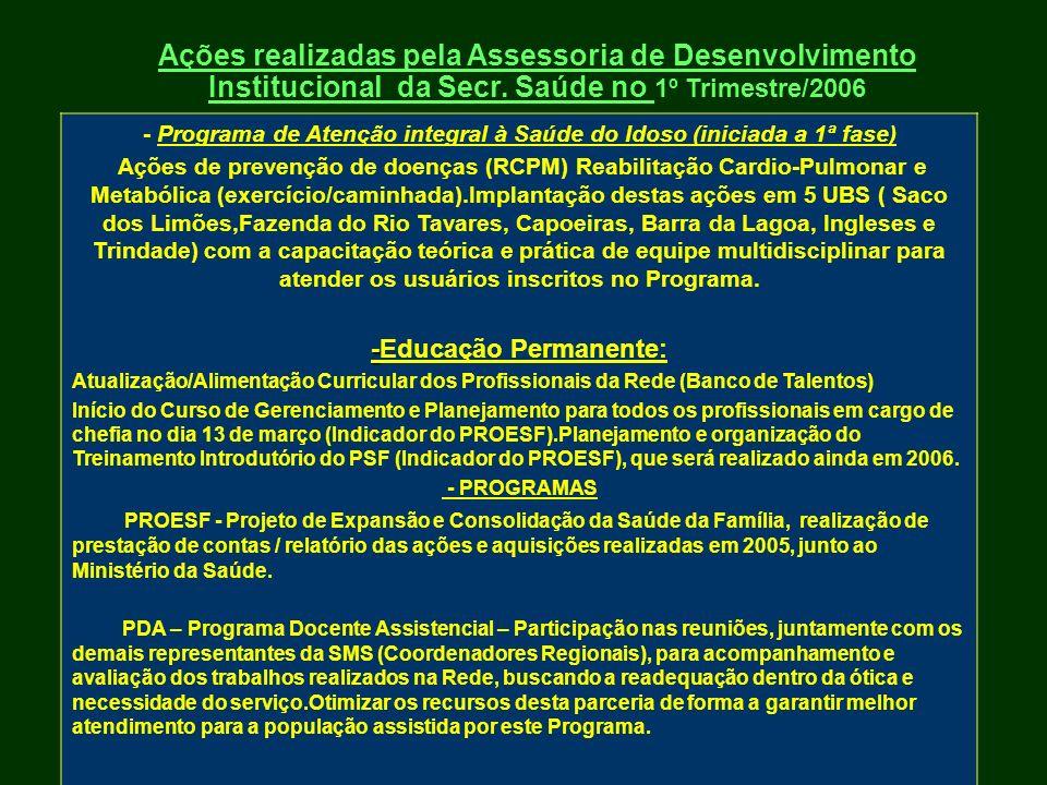 Ações realizadas pela Assessoria de Desenvolvimento Institucional da Secr. Saúde no 1º Trimestre/2006 - Programa de Atenção integral à Saúde do Idoso