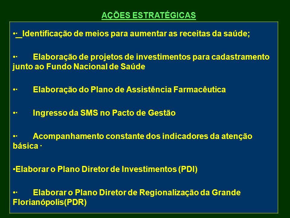 AÇÕES ESTRATÉGICAS · Identificação de meios para aumentar as receitas da saúde; · Elaboração de projetos de investimentos para cadastramento junto ao