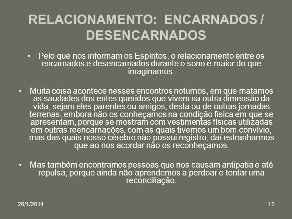 26/1/201412 RELACIONAMENTO: ENCARNADOS / DESENCARNADOS Pelo que nos informam os Espíritos, o relacionamento entre os encarnados e desencarnados durant