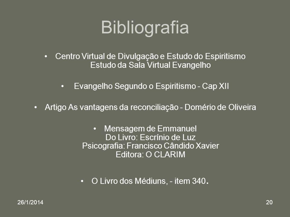 26/1/201420 Bibliografia Centro Virtual de Divulgação e Estudo do Espiritismo Estudo da Sala Virtual Evangelho Evangelho Segundo o Espiritismo - Cap X