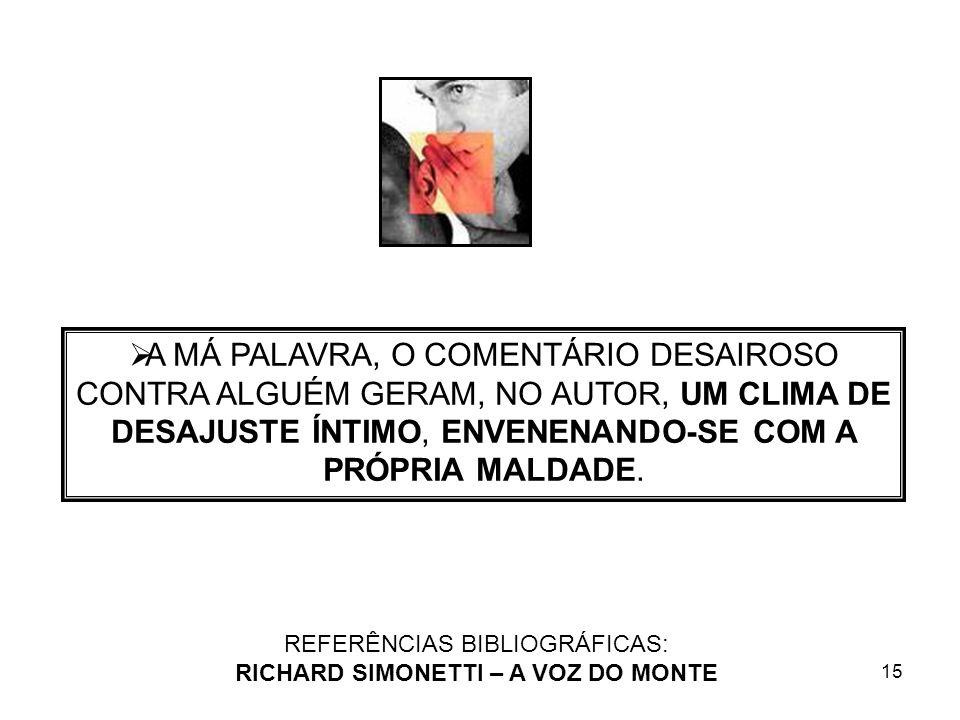 15 REFERÊNCIAS BIBLIOGRÁFICAS: RICHARD SIMONETTI – A VOZ DO MONTE A MÁ PALAVRA, O COMENTÁRIO DESAIROSO CONTRA ALGUÉM GERAM, NO AUTOR, UM CLIMA DE DESA