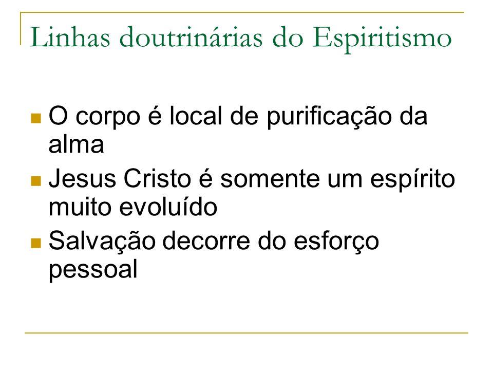 Linhas doutrinárias do Espiritismo O corpo é local de purificação da alma Jesus Cristo é somente um espírito muito evoluído Salvação decorre do esforç