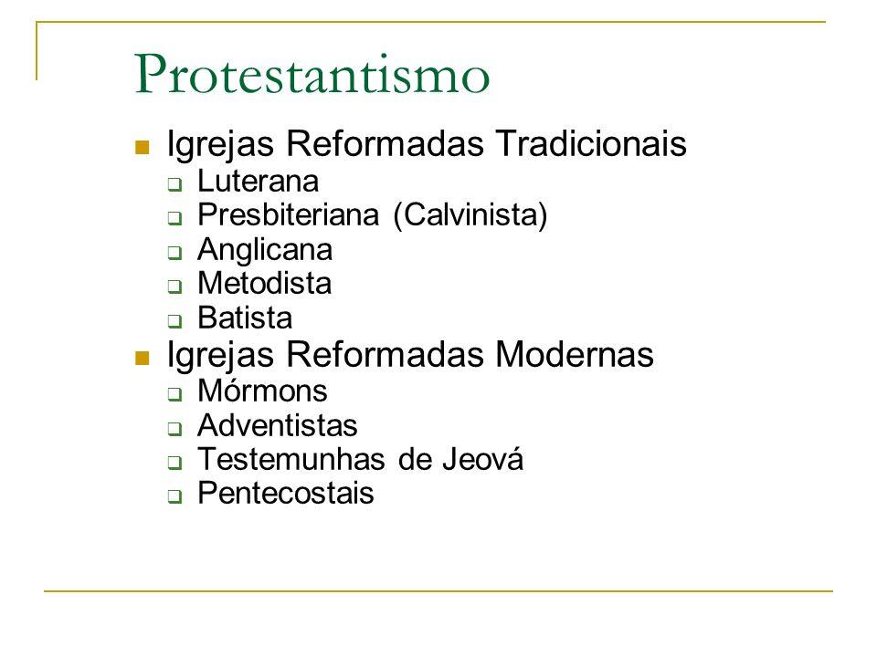 Protestantismo Igrejas Reformadas Tradicionais Luterana Presbiteriana (Calvinista) Anglicana Metodista Batista Igrejas Reformadas Modernas Mórmons Adv