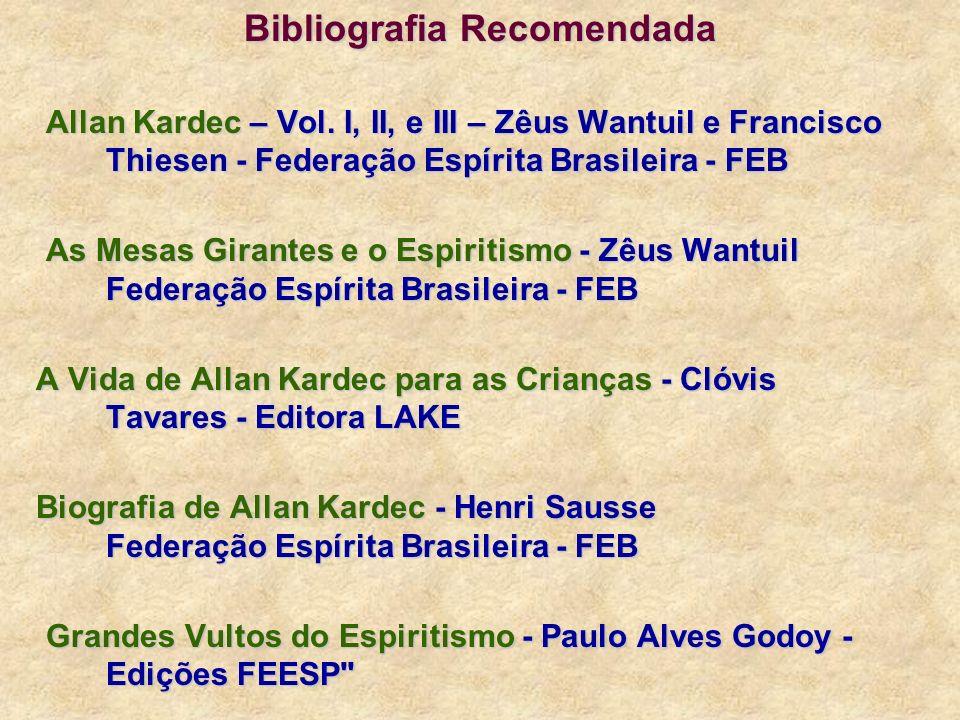 Bibliografia Recomendada Allan Kardec – Vol. I, II, e III – Zêus Wantuil e Francisco Thiesen - Federação Espírita Brasileira - FEB As Mesas Girantes e