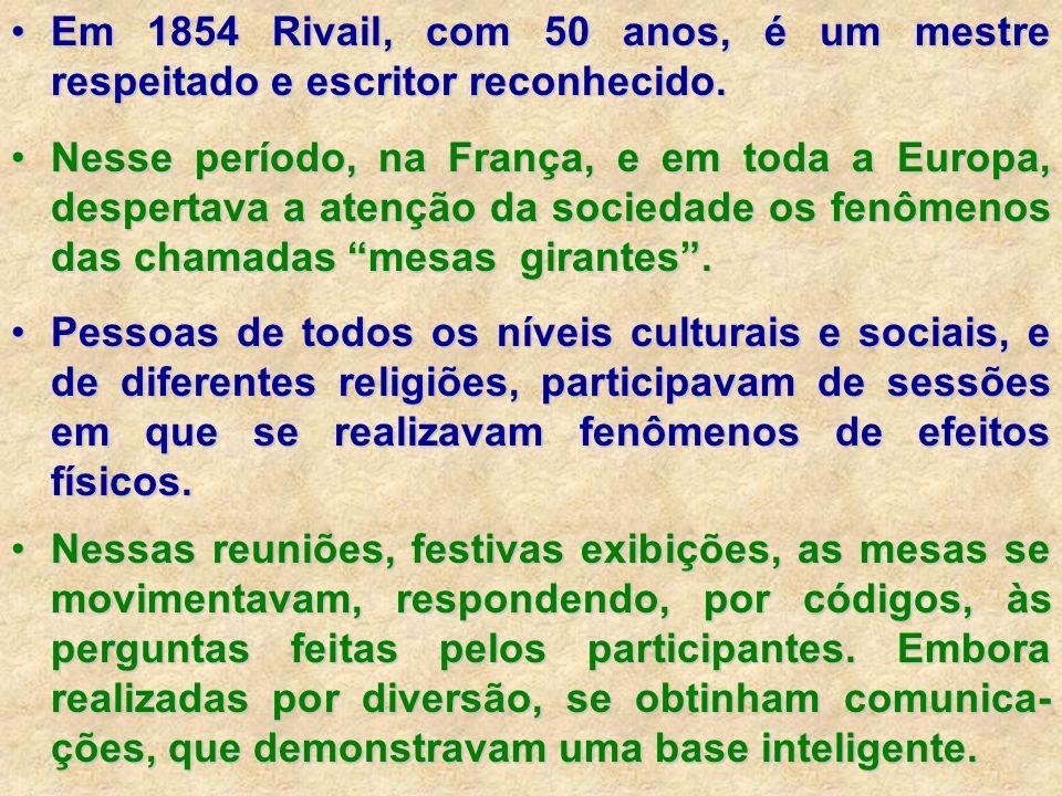 Em 1854 Rivail, com 50 anos, é um mestre respeitado e escritor reconhecido.Em 1854 Rivail, com 50 anos, é um mestre respeitado e escritor reconhecido.