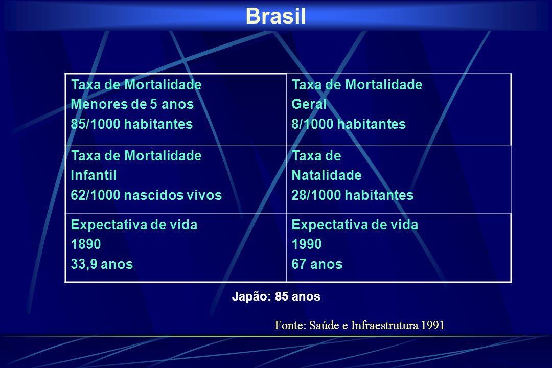 Brasil Taxa de Mortalidade Menores de 5 anos 85/1000 habitantes Taxa de Mortalidade Geral 8/1000 habitantes Taxa de Mortalidade Infantil 62/1000 nascidos vivos Taxa de Natalidade 28/1000 habitantes Expectativa de vida 1890 33,9 anos Expectativa de vida 1990 67 anos Japão: 85 anos Fonte: Saúde e Infraestrutura 1991